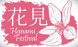 Hand gezeichneter Cherry Blossom und Rosa plätschern für Hanami-Festival, Vektor-Illustration lizenzfreie abbildung