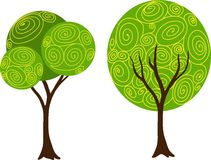 Hand gezeichneter dekorativer Baumsatz des Vektors Stockfoto