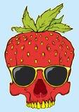 Hand gezeichneter Erdbeerschädel mit Sonnenbrillen vektor abbildung