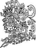 Hand gezeichneter Farbton mit Florenelementen Stockfoto
