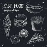 Hand gezeichneter Fastfoodsatz Kreative vektorabbildung stock abbildung