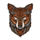 Hand gezeichneter Fuchs Ethnische Muster Auch im corel abgehobenen Betrag stock abbildung