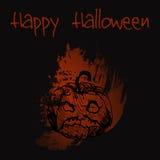 Hand gezeichneter Gekritzelübelkürbis Schwarze Illustration, Rot malte Hintergrund Glückliches Halloween Lizenzfreie Abbildung
