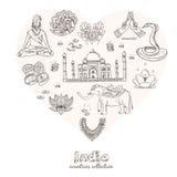 Hand gezeichneter Gekritzel Indien-Symbolsatz Stockfotos