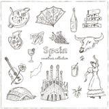 Hand gezeichneter Gekritzel Spanien-Symbolsatz Stockfotos
