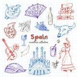 Hand gezeichneter Gekritzel Spanien-Symbolsatz Lizenzfreie Stockbilder