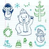 Hand gezeichneter Gekritzel Weihnachtssatz Stockbild