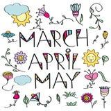 Hand gezeichneter Gekritzelsatz Frühlingsblumen Lizenzfreie Stockbilder