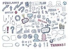 Hand gezeichneter Geschäftselementsatz Lizenzfreies Stockbild