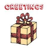 Hand gezeichneter Geschenkkasten Stockbilder