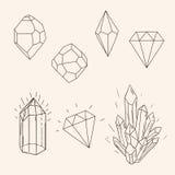 Hand gezeichneter gesetzter Skizzenkristall, Diamant und polygonale Zahl tatto Lizenzfreie Stockfotos
