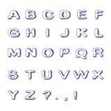 Hand gezeichneter Guss, Gekritzel-Alphabet, kindisches ABC Stockfoto