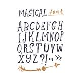 Hand gezeichneter Guss-Satz ABC, Alphabet Clipart, lokalisierte Vektorbuchstaben und Dekorelemente stock abbildung