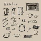 Hand gezeichneter Küchenwerkzeugsatz - Vektor Lizenzfreie Stockfotos
