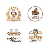 Hand gezeichneter Kaffeestubelogosatz Stockfoto