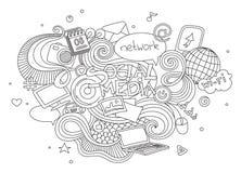 Hand gezeichneter Karikaturvektorgekritzel-Illustrationssatz Social Media unterzeichnen und Symbolelemente Auf weißem Hintergrund Stockbilder