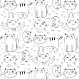 Hand gezeichneter Katzen-Vektor-Muster-Hintergrund Gekritzel lustig stock abbildung