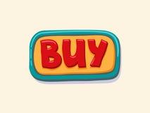 Hand gezeichneter Kaufnetzknopf Internet-Knopf Lizenzfreies Stockfoto