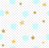 Hand gezeichneter kreativer Hintergrund Einfaches minimalistic nahtloses Muster mit goldenen Sternen und blauen Kreisen Lizenzfreie Stockbilder
