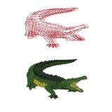 Hand gezeichneter Krokodilvektorsatz Stockbild