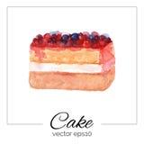 Hand gezeichneter Kuchen mit Aquarellbeschaffenheit Lizenzfreie Stockbilder