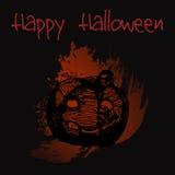 Hand gezeichneter lächelnder Kürbis des Gekritzels Schwarze Illustration, Rot malte Hintergrund Halloween Lizenzfreies Stockfoto