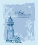 Hand gezeichneter Leuchtturm Lizenzfreie Stockbilder