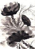 Hand gezeichneter Lotos der chinesischen Malerei vektor abbildung