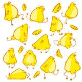 Hand gezeichneter lustiger Babyhühnervektorcharakter Stock Abbildung