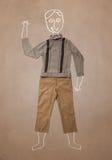 Hand gezeichneter lustiger Charakter in der zufälligen Kleidung Stockfotografie