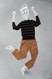 Hand gezeichneter lustiger Charakter in der zufälligen Kleidung Lizenzfreies Stockfoto