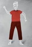 Hand gezeichneter lustiger Charakter in der zufälligen Kleidung Stockfotos