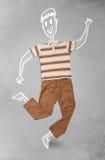 Hand gezeichneter lustiger Charakter in der zufälligen Kleidung Lizenzfreie Stockbilder
