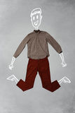 Hand gezeichneter lustiger Charakter in der zufälligen Kleidung Lizenzfreie Stockfotografie