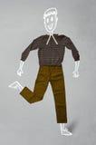 Hand gezeichneter lustiger Charakter in der zufälligen Kleidung Lizenzfreie Stockfotos