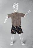 Hand gezeichneter lustiger Charakter in der zufälligen Kleidung Lizenzfreies Stockbild