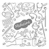 Hand gezeichneter Medizinikonensatz Medizinische skizzierte Sammlung Gesundheitswesen, Apothekengekritzelikonen Lizenzfreies Stockbild