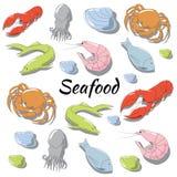 Hand gezeichneter Meeresfrüchtesatz Stockbilder