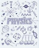 Hand gezeichneter Physiksatz Stockfotos