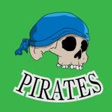Hand gezeichneter Piratenschädel auf Grün vektor abbildung