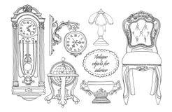 Hand gezeichneter Retro- Möbelsatz Stockfoto