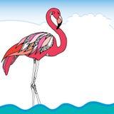 Hand gezeichneter rosa Flamingo Stockfoto