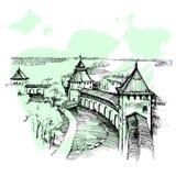 Hand gezeichneter Russe der Kreml, städtische Skizze lizenzfreie stockfotografie