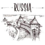 Hand gezeichneter Russe der Kreml, städtische Skizze Von Hand gezeichnete Buchillustration, touristische Postkarte oder Plakatsch lizenzfreie stockfotos