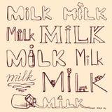 Hand gezeichneter Satz Milchwörter beschriftung Vektor Lizenzfreie Stockfotografie