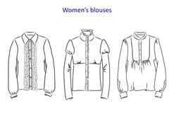 Hand gezeichneter Satz mit Frauen ` s kleidet Vector Illustration für Hintergründe, Textildrucke, Netz und Grafikdesign Lizenzfreie Abbildung