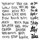 Hand gezeichneter Satz mit kurzen Phrasen, Wörtern und Jargon auf weißem Hintergrund Vektor Stockfotografie