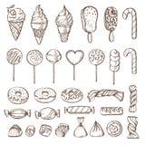 Hand gezeichneter Satz Süßigkeiten, Kuchenknalle, Eiscreme und Schaumgummiringe Retro- Weinlese Vektor-Illustration Stockfoto