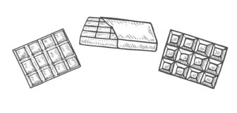 Hand gezeichneter Satz Schokolade vektor abbildung