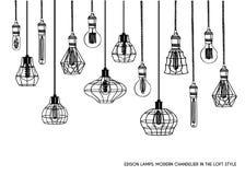 Hand gezeichneter Satz unterschiedliche geometrische Dachbodenlampen und Eisenlampenschirm Lizenzfreies Stockbild
